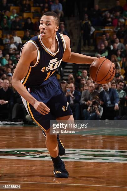 Dante Exum of the Utah Jazz handles the ball against the Boston Celtics on March 4 2015 at TD Garden in Boston Massachusetts NOTE TO USER User...