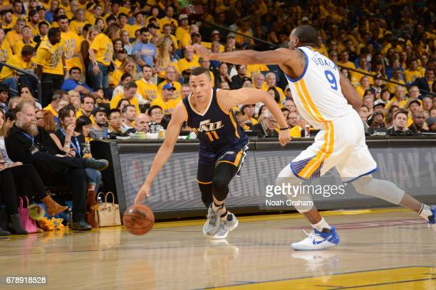 Dante Exum of the Utah Jazz handles the ball against the Golden State Warriors in Game Two the Western Conference Semifinals of the 2017 NBA Playoffs...