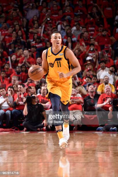 Dante Exum of the Utah Jazz handles the ball against the Houston Rockets in Game One of the Western Conference Semifinals during the 2018 NBA...