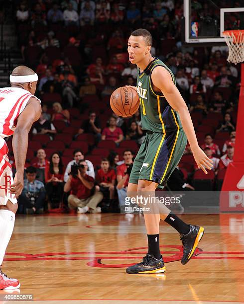 Dante Exum of the Utah Jazz handles the ball against the Houston Rockets on April 15 2015 at the Toyota Center in Houston Texas NOTE TO USER User...