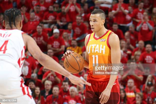 Dante Exum of the Utah Jazz handles the ball against the Houston Rockets during Game Three of the Western Conference Semifinals of the 2018 NBA...