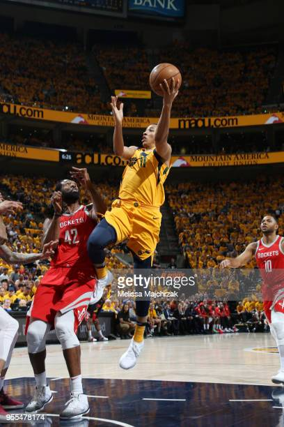 Dante Exum of the Utah Jazz handles the ball against the Houston Rockets during Game Four of the Western Conference Semifinals of the 2018 NBA...