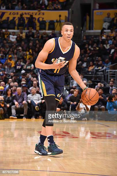 Dante Exum of the Utah Jazz handles the ball against the Los Angeles Lakers during the game on December 5 2016 at STAPLES Center in Los Angeles...