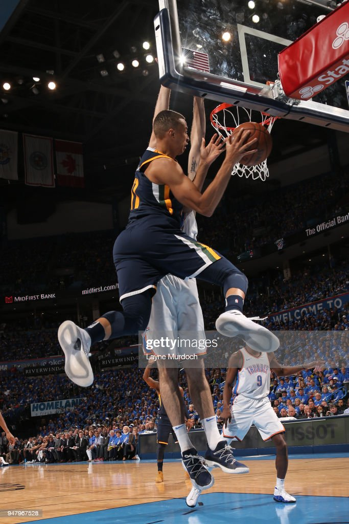Dante Exum #11 of the Utah Jazz handles the ball against the Oklahoma City Thunder during Game One of Round One of the 2018 NBA Playoffs on April 15, 2018 at Chesapeake Energy Arena in Oklahoma City, Oklahoma.
