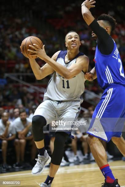 Dante Exum of the Utah Jazz handles the ball against the Philadelphia 76ers on July 5 2017 during the 2017 NBA Utah Summer League game at the Jon M...