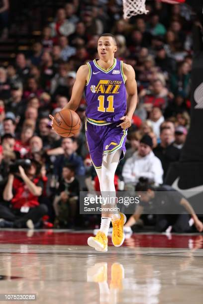 Dante Exum of the Utah Jazz handles the ball against the Portland Trail Blazers on December 21 2018 at the Moda Center Arena in Portland Oregon NOTE...
