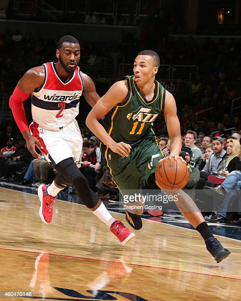 Dante Exum of the Utah Jazz handles the ball against the Washington Wizards at the Verizon Center on December 14 2014 in Washington DC NOTE TO USER...