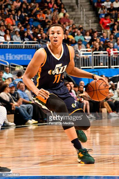 Dante Exum of the Utah Jazz handles the ball during a game against the Orlando Magic on November 11 2016 at the Amway Center in Orlando Florida NOTE...