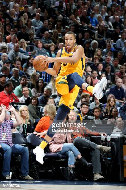 Dante Exum of the Utah Jazz handles the ball during the game against the LA Clippers on April 5 2018 at vivintSmartHome Arena in Salt Lake City Utah...