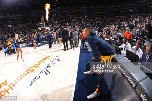 Dante Exum of the Utah Jazz looks on before the game against the Phoenix Suns on March 15 2018 at vivintSmartHome Arena in Salt Lake City Utah NOTE...