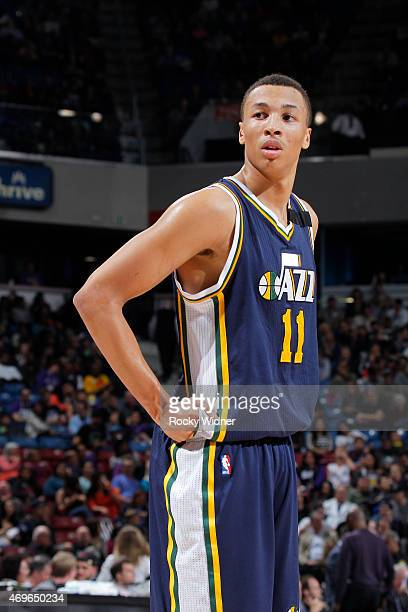 Dante Exum of the Utah Jazz looks on during the game against the Sacramento Kings on April 5 2015 at Sleep Train Arena in Sacramento California NOTE...