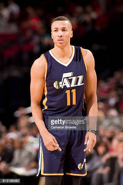Dante Exum of the Utah Jazz looks on during the game against the Portland Trail Blazers on October 3 2016 at the Moda Center Arena in Portland Oregon...