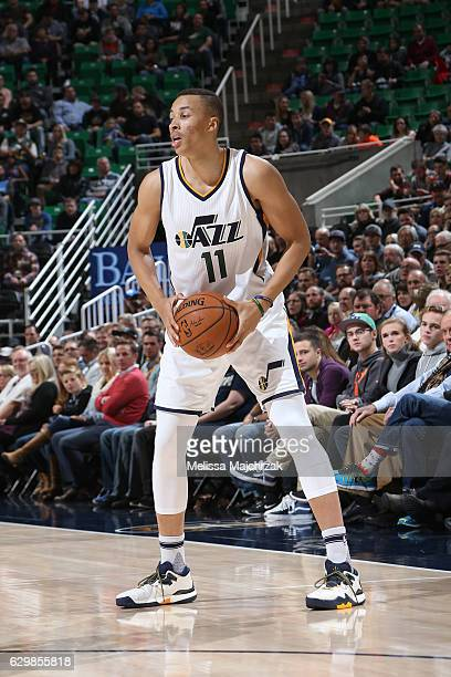Dante Exum of the Utah Jazz looks to pass against Oklahoma City Thunder on December 14 2016 at vivintSmartHome Arena in Salt Lake City Utah NOTE TO...