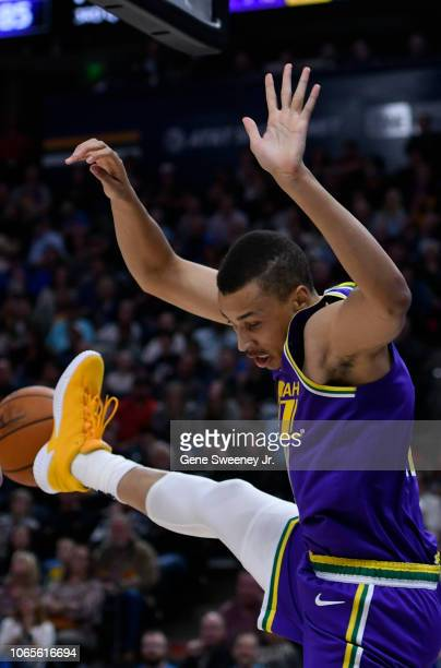 Dante Exum of the Utah Jazz loses his balance after a shot in the second half of a NBA game against the Indiana Pacers at Vivint Smart Home Arena on...