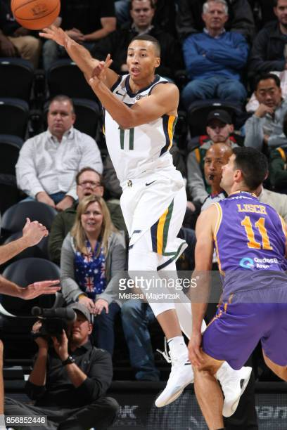 Dante Exum of the Utah Jazz passes the ball against the Sydney Kings during a preseason game on October 2 2017 at vivintSmartHome Arena in Salt Lake...