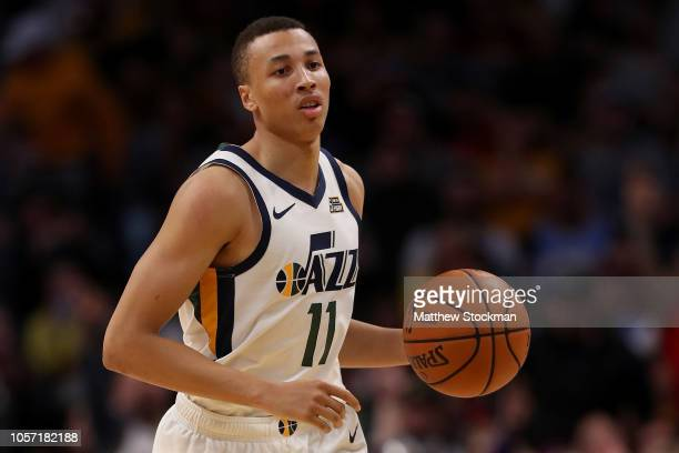 Dante Exum of the Utah Jazz plays the Denver Nuggets at the Pepsi Center on November 3 2018 in Denver Colorado NOTE TO USER User expressly...
