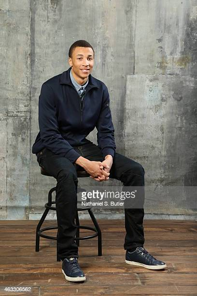 Dante Exum of the Utah Jazz poses for portraits during the NBAE Circuit as part of 2015 AllStar Weekend at the Sheraton Times Square Hotel on...
