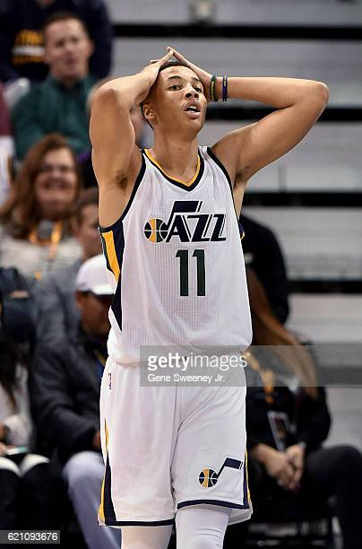 Dante Exum of the Utah Jazz reacts to a foul call during the game between the Jazz and the Dallas Mavericks at Vivint Smart Home Arena on November 2...