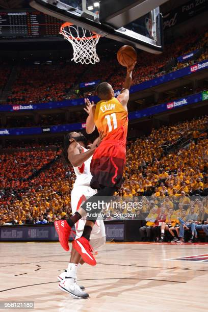 Dante Exum of the Utah Jazz shoots the ball against the Houston Rockets during Game Three of the Western Conference Semifinals of the 2018 NBA...