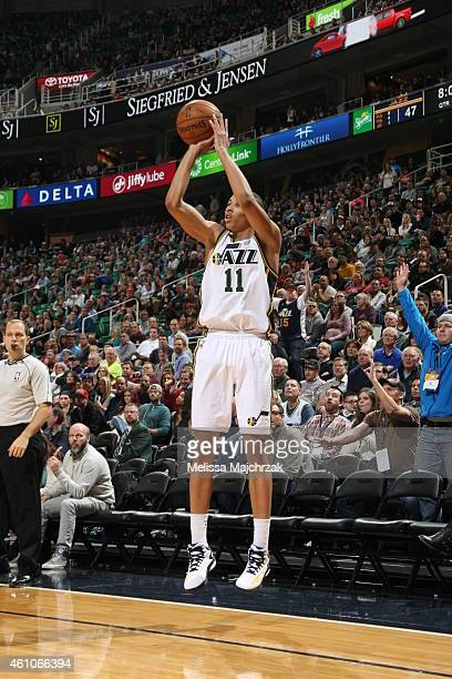 Dante Exum of the Utah Jazz shoots the ball against the Indiana Pacers during the game on January 5 2015 at EnergySolutions Arena in Salt Lake City...