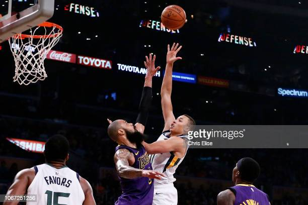 Dante Exum of the Utah Jazz shoots the ball against the Los Angeles Lakers on November 23 2018 at the STAPLES Center in Los Angeles California NOTE...