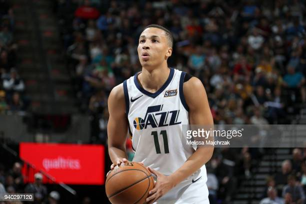 Dante Exum of the Utah Jazz shoots the ball against the Memphis Grizzlies on March 30 2018 at vivintSmartHome Arena in Salt Lake City Utah NOTE TO...