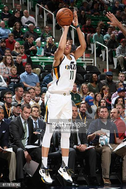 Dante Exum of the Utah Jazz shoots the ball against the Portland Trail Blazers on October 19 2016 at vivintSmartHome Arena in Salt Lake City Utah...