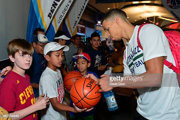 Dante Exum of the Utah Jazz signs autographs during the 2015 Summer League at The Cox Pavilion on July 15 2015 in Las Vegas Nevada NOTE TO USER User...