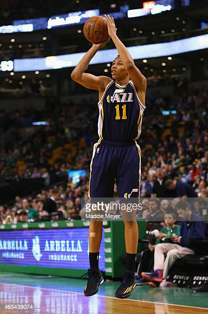 Dante Exum of the Utah Jazz takes a shot against the Boston Celtics at TD Garden on March 4 2015 in Boston Massachusetts The Celtics defeat the Jazz...