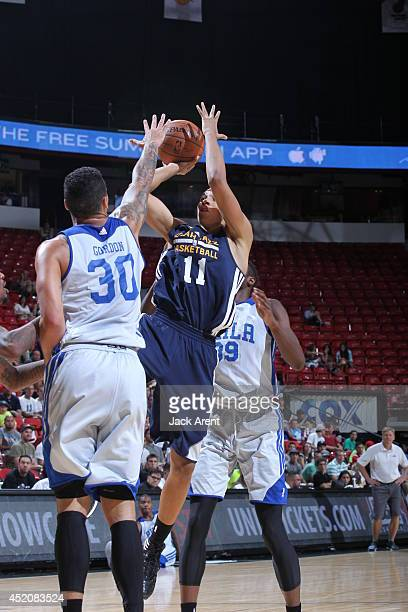 Dante Exum of the Utah Jazz takes a shot against the Philadelphia 76ers at the Samsung NBA Summer League 2014 on July 12 2014 at the Thomas Mack...