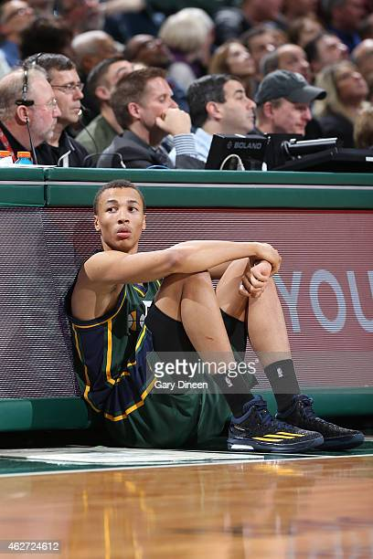 Dante Exum of the Utah Jazz waits to check in during a game against the Milwaukee Bucks on January 22 2015 at the BMO Harris Bradley Center in...