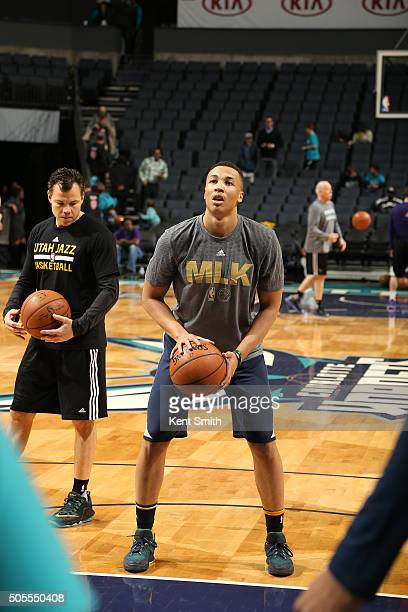 Dante Exum of the Utah Jazz warms up before the game against the Charlotte Hornets on January 18 2016 at Time Warner Cable Arena in Charlotte North...
