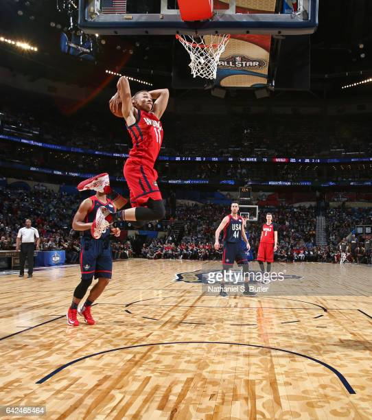 Dante Exum of the World Team dunks the ball during the BBVA Compass Rising Stars Challenge as part of 2017 AllStar Weekend at the Smoothie King...