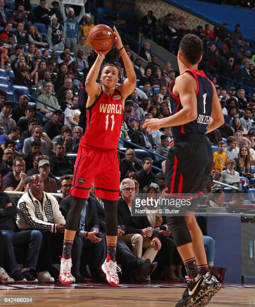 Dante Exum of the World Team shoots the ball during the BBVA Compass Rising Stars Challenge as part of 2017 AllStar Weekend at the Smoothie King...