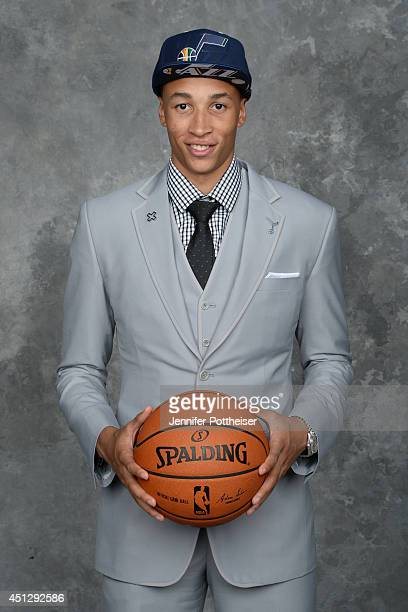 Dante Exum the fifth pick overall by the Utah Jazz poses for a portrait during the 2014 NBA Draft at the Barclays Center on June 26 2014 in the...