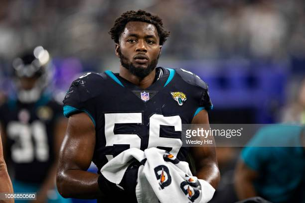 Dante Fowler Jr #56 of the Jacksonville Jaguars on the sidelines during a game against the Dallas Cowboys at ATT Stadium on October 14 2018 in...