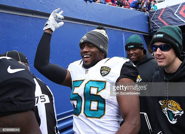Dante Fowler Jr #56 of the Jacksonville Jaguars walks out onto the field through the tunnel before the start of NFL game action against the Buffalo...