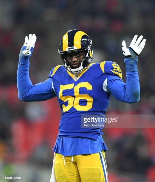 Dante Fowler Jr of Los Angeles Rams looks on during the NFL game between Cincinnati Bengals and Los Angeles Rams at Wembley Stadium on October 27,...