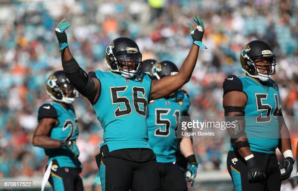 Dante Fowler of the Jacksonville Jaguars celebrates a play on the field in the second half of their game against the Cincinnati Bengals at EverBank...