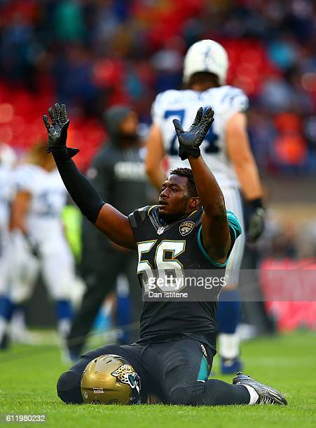 Dante Fowler of the Jacksonville Jaguars celebrates victory after the NFL game between Indianapolis Colts and Jacksonville Jaguars at Wembley Stadium...