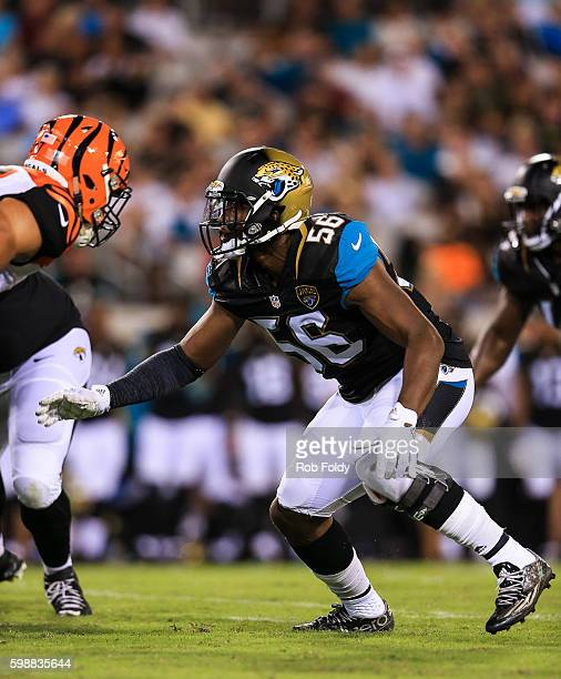 Dante Fowler of the Jacksonville Jaguars in action during the preseason game against the Cincinnati Bengals at EverBank Field on August 28 2016 in...