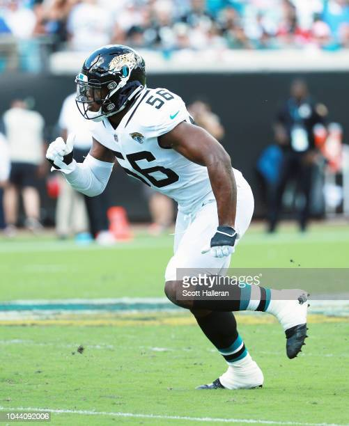 Dante Fowler of the Jacksonville Jaguars in action on the field during their game against the New York Jets at TIAA Bank Field on September 30 2018...