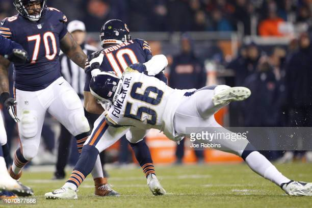 Dante Fowler of the Los Angeles Rams attempts a sack on quarterback Mitchell Trubisky of the Chicago Bears in the first quarter at Soldier Field on...