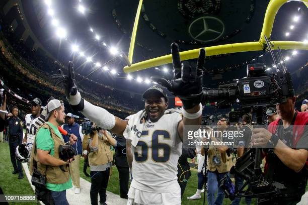 Dante Fowler of the Los Angeles Rams celebrates after defeating the New Orleans Saints in the NFC Championship game at the MercedesBenz Superdome on...
