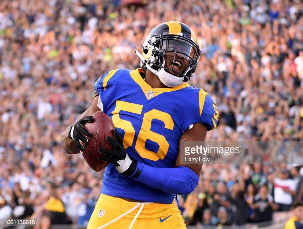 Dante Fowler of the Los Angeles Rams celebrates his sack and fumble recovery in the fourth quarter during a 3631 win over the Seattle Seahawks at Los...