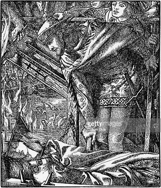 Dante Gabriel Rossetti 's illustration for 'The Lady of Shallott' Engraved by Dalziel for the 1857 Moxon edition of Tennyson 's works From 'The...
