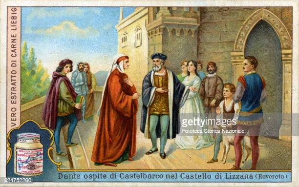 'Dante guest of Castelbarco of the castle of Lizzana ' The poet in exile guest of the Scaligeri is welcomed by Guglielmo di Castelbarco approx 1302...