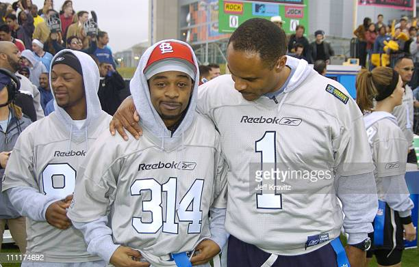 Dante Hal Murphy Lee and Warren Moon during Super Bowl XXXVIII MTV's Rock n' Jock at MTV Compound at Reliant Stadium in Houston Texas United States