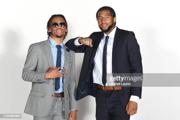 Dante Harris and Donald Curry of the Georgetown Hoyas pose for a photo during the Big East Media Day at Madison Square Garden on October 19, 2021 in...