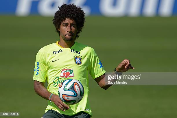 Dante in action during a training session of the Brazilian national football team at the squad's Granja Comary training complex in Teresopolis 90 km...